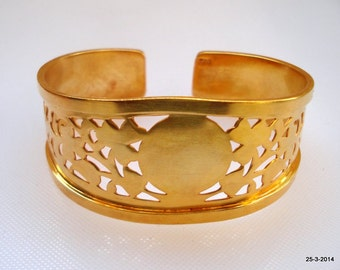 vintage gold vermeil gold gilded sterling silver bracelet bangle cuff handmade