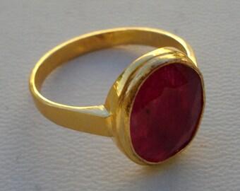 vintage 18k gold ring manik ruby gemstone handmade jewelry rajasthan india