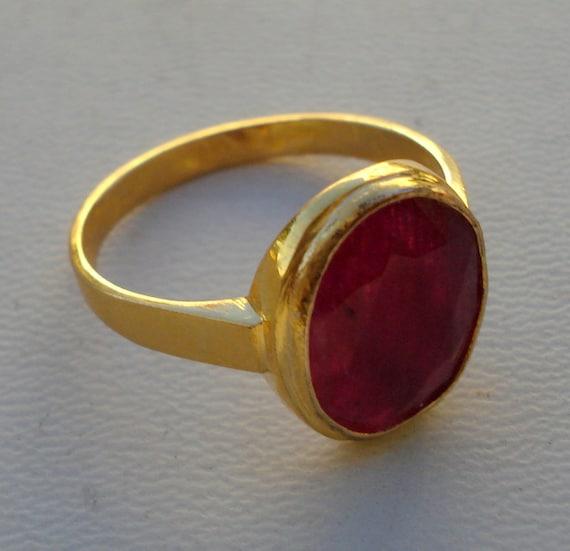 vintage 18k gold ring manik ruby gemstone handmade jewelry