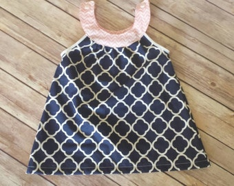 Navy and pink infant/toddler tunic