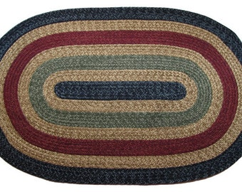 CA - Country Navy w Sage & Burgundy Braided Rug