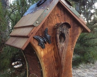 Unique Barnwood Chalet Butterfly Birdhouse Reclaimed Wedding Gift #0919