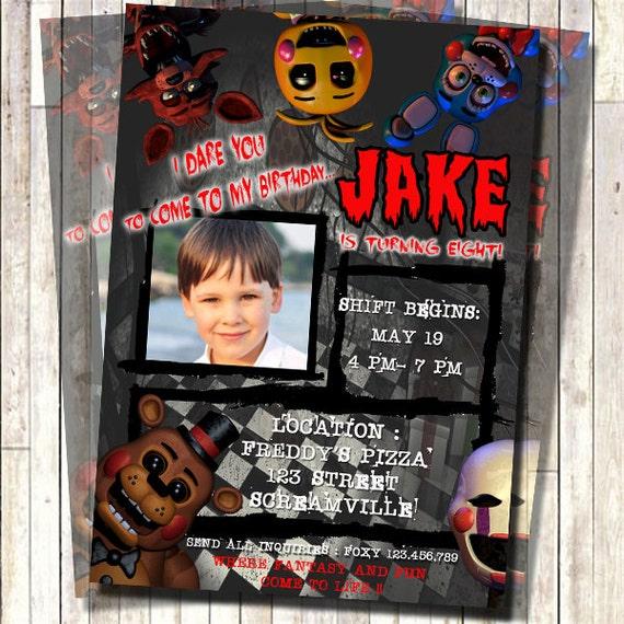 Printable Birthday Party Invitation Card Detroit Lions: Five Nights At Freddy's Invitation Freddy Fazzbear By