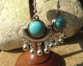 Turquoise earrings, Turquoise Jewellery, Boho, Bohemian, Ethnic, Tribal, Silver Bells Earrings