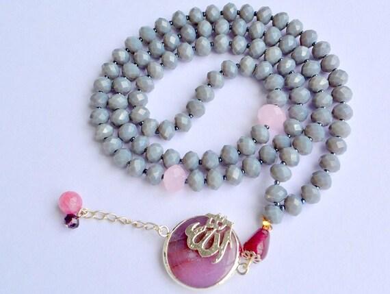 MUSLIM DOA ROSARY, gemstone rosary, purple tasbeeh, Allah pendant, doa ...