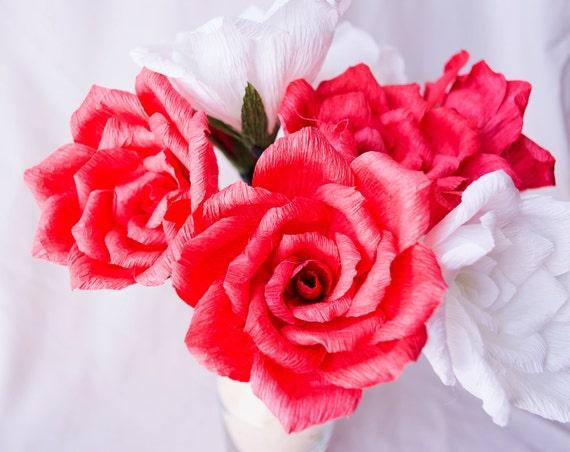 Roses en papier avec ou sans tige bouquet par - Rose avec tige ...