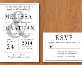 Classic Wedding Invitation // Printable, DIY Wedding, Wedding Invitation, Custom Invitation
