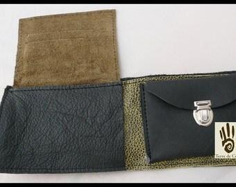 Large green & black wallet