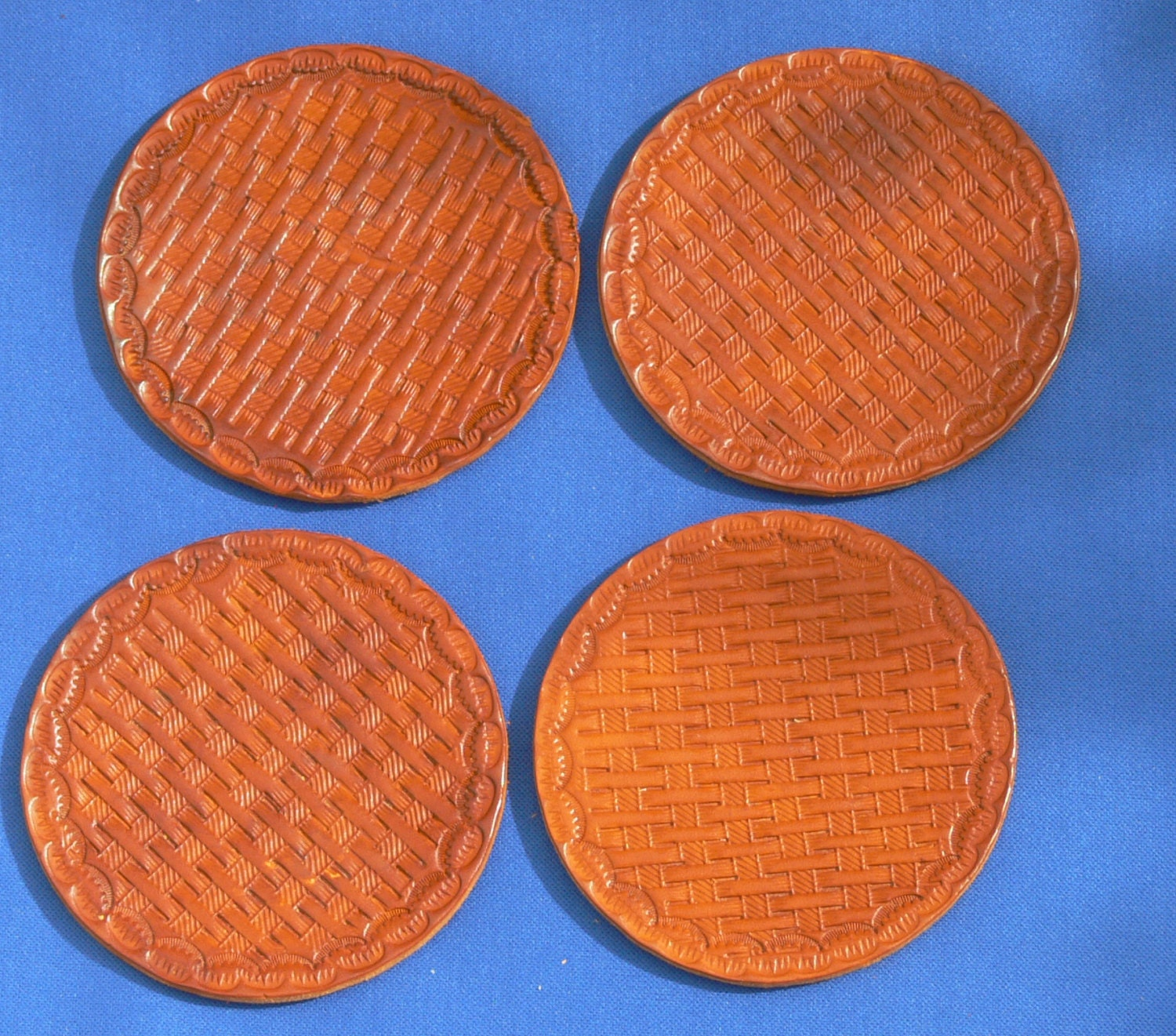 Basket Weave Pattern On Leather : A set of four basket weave pattern hand made leather by