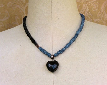 necklace with kyanite, black onyx, and a black agate heart pendant