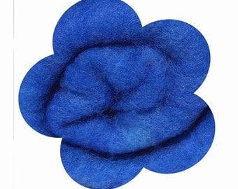 Needle Felting Wool. Canadian Merino Wool.  Batts, Fleece, Carded. Wet felting. Royal BLue / Brilliant blue blue / Medium blue