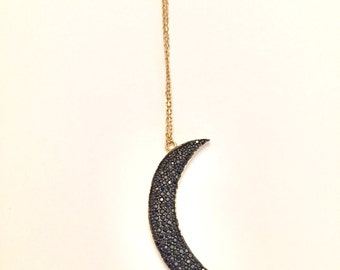 Black CZ Moon necklace