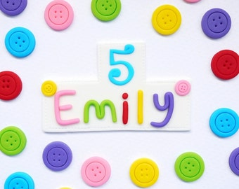 Fondant Lalaloopsy Cake Topper - Personalize fondant name plaque with buttons