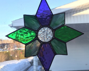 Green / Purple Star Stained Glass Suncatcher