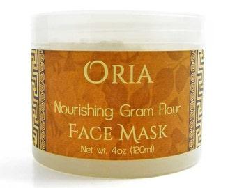 Gram Flour Face Mask by Oria, 4oz, face mask, gram flour mask, sandalwood mask, exfoliating mask, cleansing mask, natural skincare