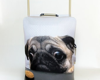 Cute Pug With Biscuit Design Caseskinz Suitcase Cover Easily Identify Your Case On The Carousel