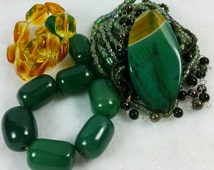 Bead Kit, Jewelry Bead Kit, Agate Pendant Bead, Seed Beads, Czech glass beads, Mixed Color Beads, Fire Polished Beads, Crystal Rondelle, pdb