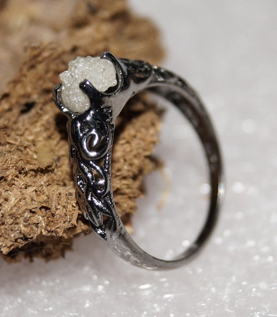 rough diamond ring uncut raw diamond ring by rawdiamondshub