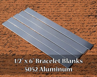 25 - 5052 Aluminum 1/2 in. x 6 in. Bracelet Cuff or Bookmark Blanks - Polished Metal Stamping Blanks - 14G 5052 Aluminum - Flat