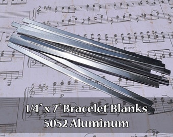 "50 - 5052 Aluminum 1/4"" x 7"" Bracelet Cuff Blanks - Polished Metal Stamping Blanks - 14G 5052 Aluminum - Flat - Longer Cuff"