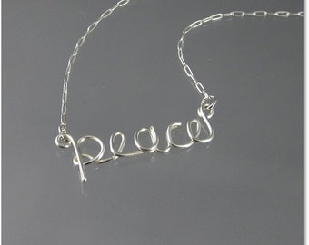 peace Wire Word Pendant Necklace