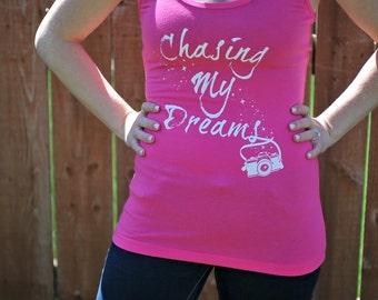 Chasing My Dreams Photographer Racerback Tank, PINK