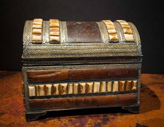 Wooden Box with Inlaid Camel Bone