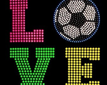 Woman's LOVE Soccer Neon Rhinestone Racerback Tank
