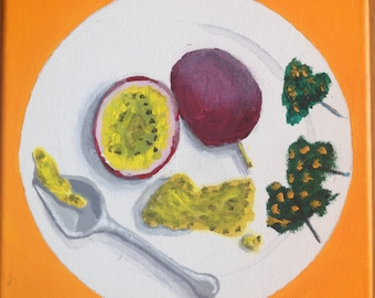 Passionfruit acrylic painting 8x8 inch stretched canvas
