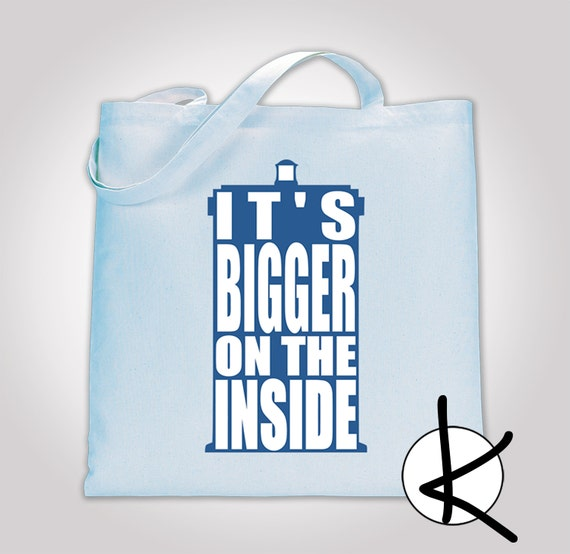 It's bigger on the inside 100% Cotton Tote Bag, Shopping Bag, Library Bag, Beach Bag