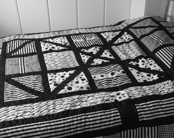 Black and White Patchwork Quilt Made To Order