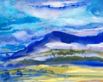 """Water Colour Landscape, """"A Bleak but Colourful Storm"""""""