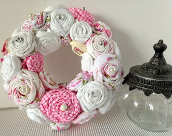 """Wreath """"Rosary"""" white/pink"""