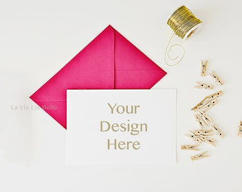 Card Stock Photo - Styled Stock Photography - Pink and Gold Styling with blank white card - professional card mockup - stationery stock