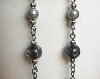 Grey Glitz Dangle Earrings