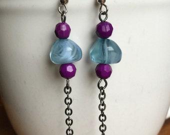 Blue and Purple Dangle Chain Earrings