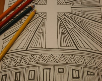 Colouring sheet - cross - Easter download