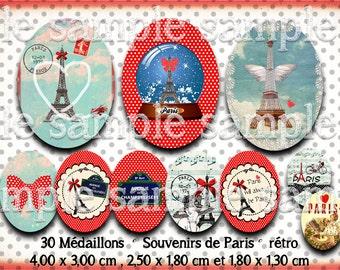 digital images * Paris vintage * eiffel travel bow polka dot collage digital scrapbooking cabochon jewel