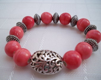 Pink Chunky Beaded Stretch Bracelet, Silver Bracelet, Filigree Jewelry, Pink Bracelet, Chunky Bracelet, Pink Jewellery, Gift For Her