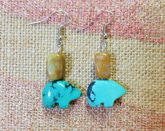 Simple Brown & Turqouise-Blue Earrings