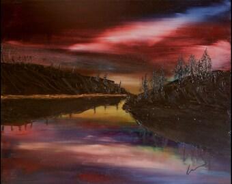 "NIGHT FALLS, 20x16"" oil painting"