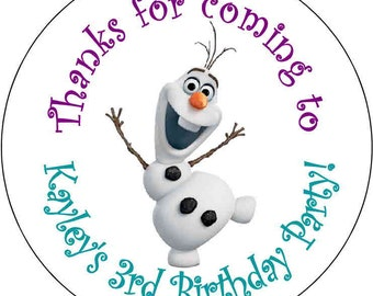 12 Olaf Frozen Birthday Party Stickers 2.5 inch Round Personalized kids
