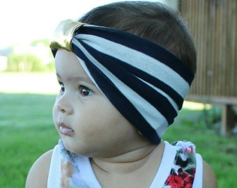 Black and white stripe headband with gold