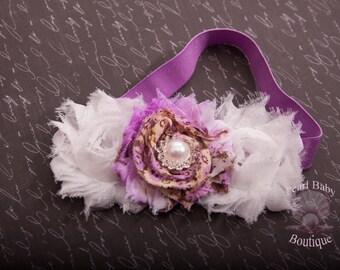 Shabby floral baby headband, lavender headband, vintage headband, baby headband, lavender and white headband.