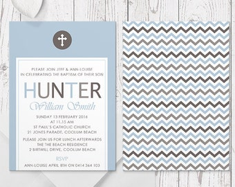 Blue and Chocolate Brown Boy Baptism Christening Invitation | Printed Professionally on Silk Cardstock, Free Colour Changes, Peach Perfect
