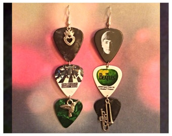 Come Together Right Now-Beatles Guitar Pick Earrings