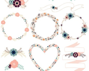 Floral Wreaths in Neutral Pastels: Commercial or personal use vector floral clipart. Wreaths, heart wreath, floral banners. Hi Res PNG, EPS