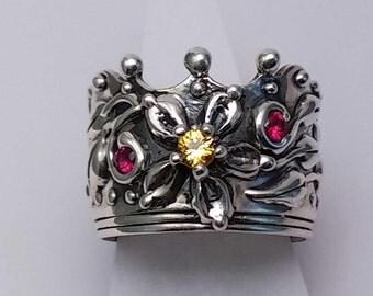 sapphire flower crown ring