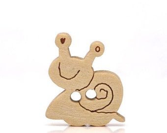 Cute little wooden snail buttons x 60