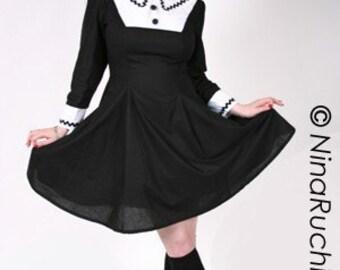 A line Dress - Gothic Lolita Dress - Goth Loli Dress - Black Dress - Goth Dress - Gothic Dress - Cosplay Dress - Custom size- Plus Sizes